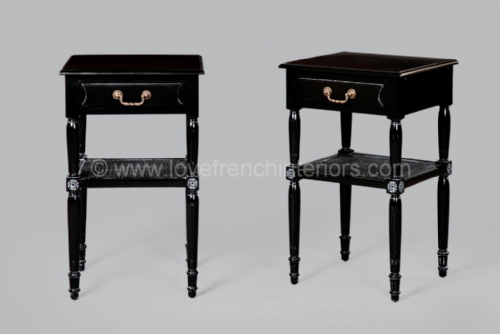 One Drawer Bedside in Noir Black